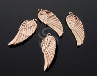 Connector 2pcs-30mmX9mm Matte Gold Plated over Brass Angel Wings pendant K1596G