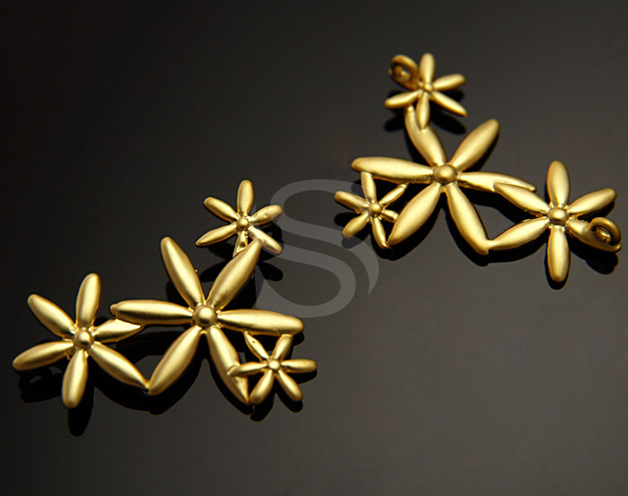 [B0991-C-MG] 2 Pcs / Various Four Flowers Connector?/ Brass / 25.5mm x 19mm