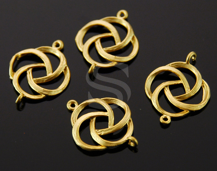 [B0055-C-MG] 4 Pcs / Unique Brush Textured Flower Motif Connector / Brass / 15mm x 20mm