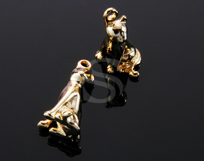 [B0084-P-G] 4 Pcs / Siamese Cat Charm / Brass / 8mm x 18mm