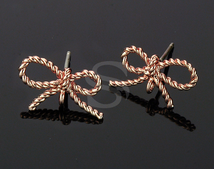 [B0105-E-RG] 4 Pcs / Braided Cord Ribbon Stud Earring Findings / Brass
