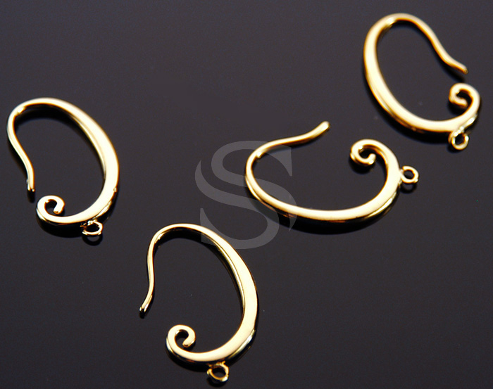 [B0135-H2-G] 4 Pcs / Unique Swirl Earring Findings / Brass / 22mm x 16mm