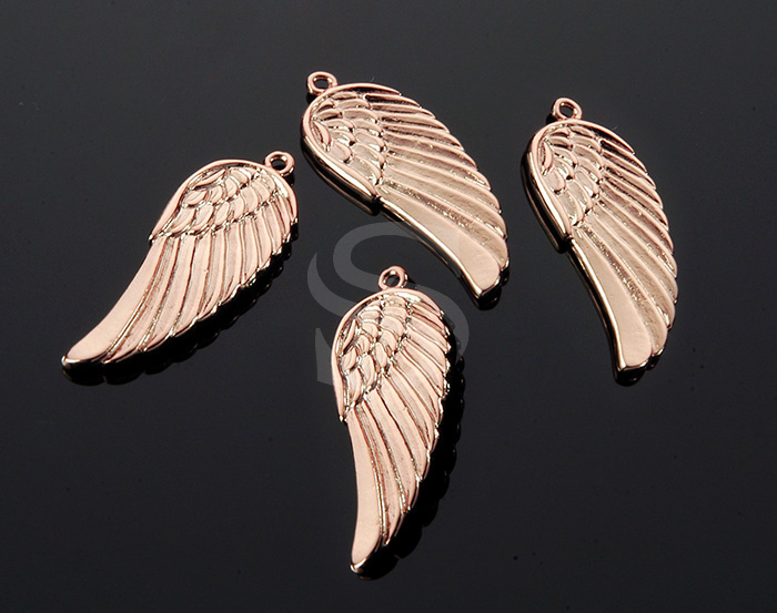 [B0169-P3-RG] 2 Pcs / Beautiful Angel Wing Pendant / Brass / 11.3mm x 30mm