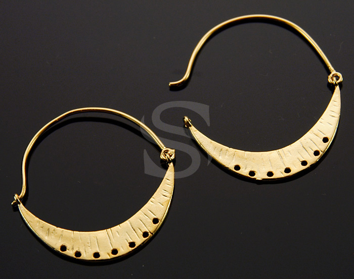 [B0019-E-G] 2 Pcs / Unique Crescent Moon Earring Findings / Brass / 38mm