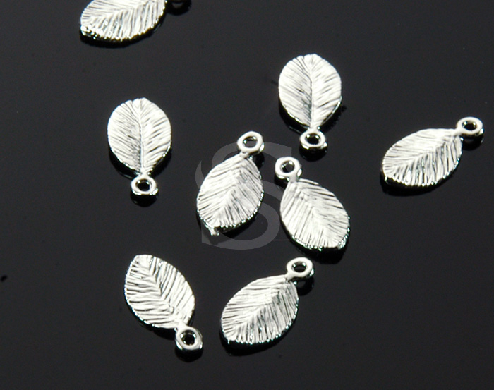 [B0207-P-RF] 6 Pcs / Cute Leaf Charms / Brass / 6mmx11mm