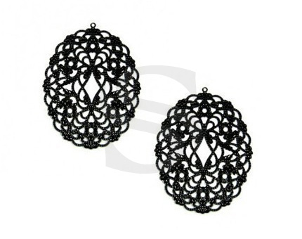 [B0020-P-MB] 4 Pcs / Romantic Filigree Pendant / Steel