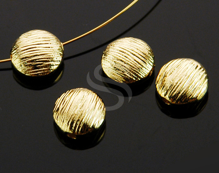 [B0223-C1-G] 4 Pcs / Brush Textured Round Beads / Brass / 7.7mm