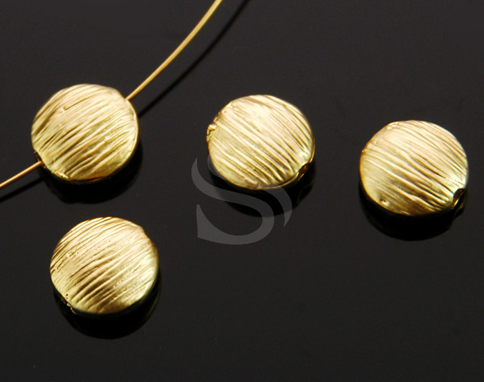 [B0223-C1-MG] 4 Pcs / Solid Sterling Silver Brush Textured Flat Round Beads / Brass / 7.7mm