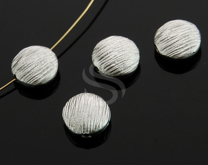 [B0223-C1-MS] 4 Pcs / Solid Sterling Silver Brush Textured Flat Round Beads / Brass / 7.7mm