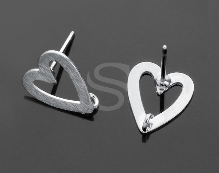 [B0236-E-RF] 4 Pcs / Beautifully Matte Finished Heart Shaped Stud Earring Findings / Brass / 9mm x 11mm
