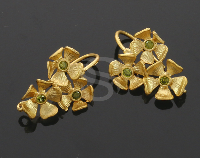[B0337-H-MGOV] 2 Pcs / The Secret Garden Floral Earring / Brass / 16mmx23mm