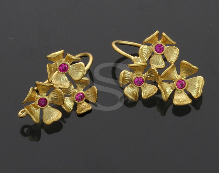 [B0337-H-MGRR] 2 Pcs / The Secret Garden Floral Earring / Brass / 16mmx23mm