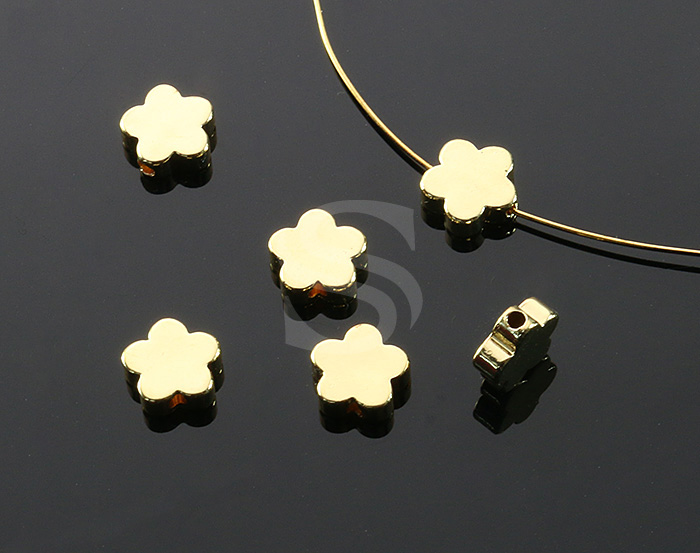 [B0384-C1-G] 6 Pcs / Adorable Flat Five Petals Beads / Brass / 7.8mm