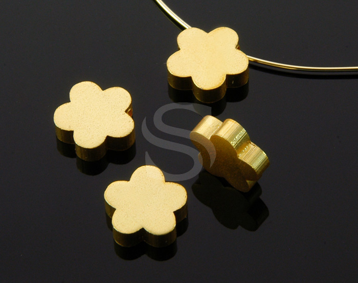 [B0384-C2-MG] 6 Pcs / Adorable Daisy Flower Beads / Brass / 8.3mm
