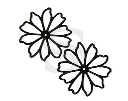 [B0038-P2-MB] 4 Pcs / Romantic Line Art Flower Pendant / Steel / 58mm
