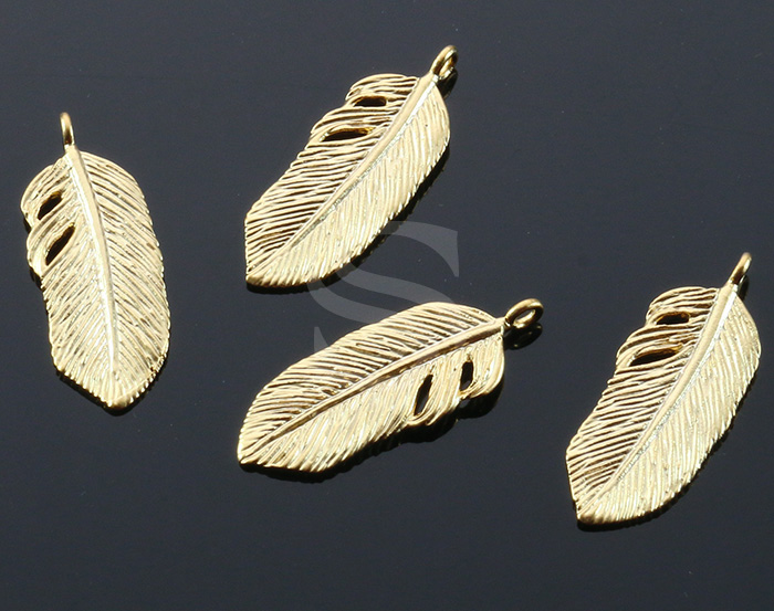 [B0409-P2-MG] 4 Pcs / Bird Feather Pendant / Brass / 9.3mmx23.5mm