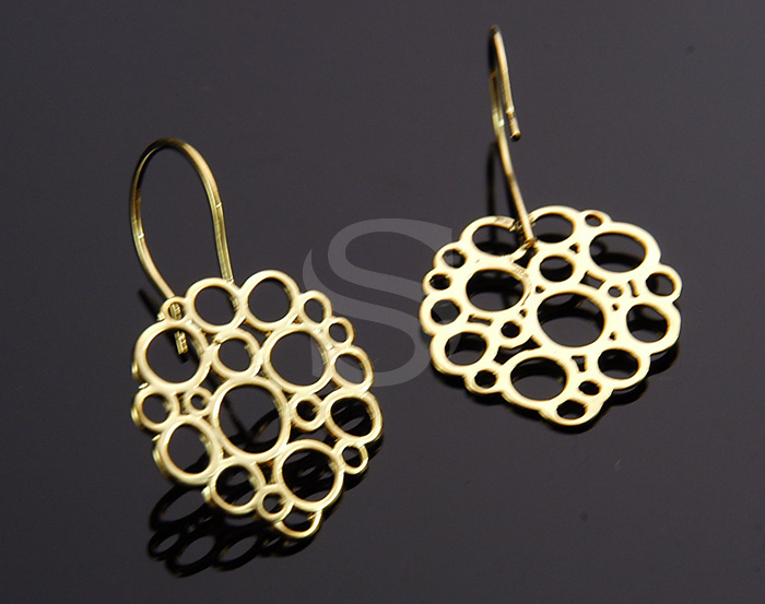[B0485-H-G] 2 Pcs / Bubble Round Earring Hook / Brass / 19mm x 32mm