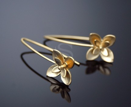 [B0050-H-MG] 2 Pcs / Double Fleur Earring Findings