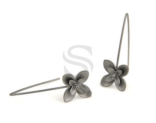 [B0050-H-MO] 2 Pcs / Double Fleur Earring Findings