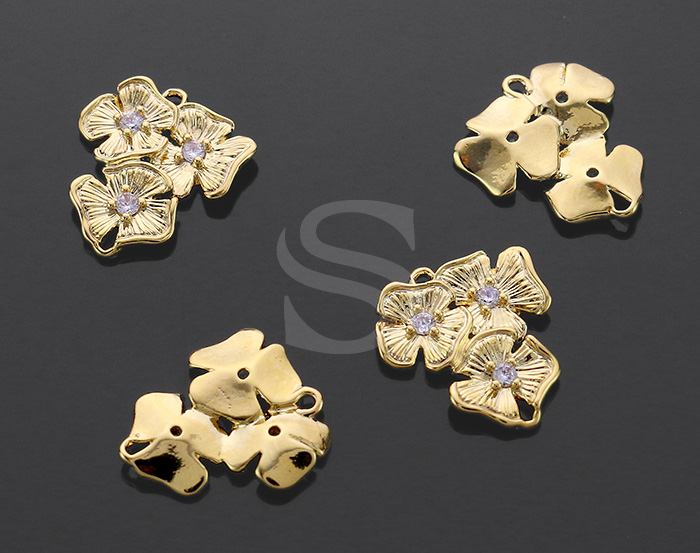 [B0547-C-G] 4 Pcs / Dainty Three Petals Flower Connector / Brass / 13.5mmx15.7mm