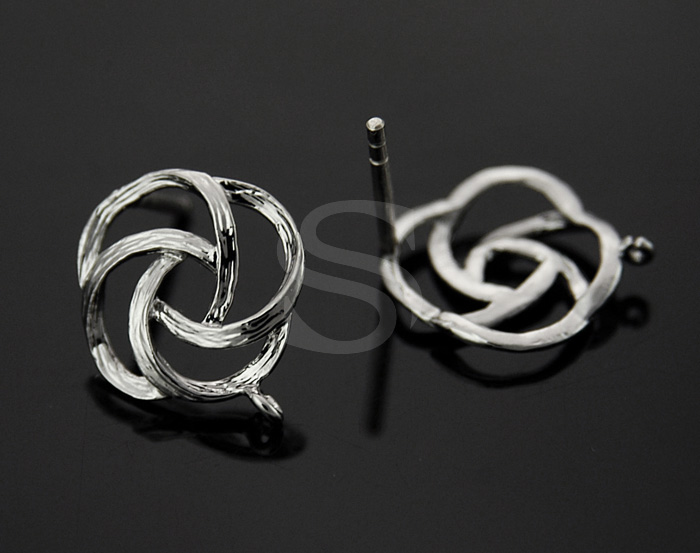[B0055-E-RF] 4 Pcs / Unique Brush Textured Flower Motif Earring Findings / Brass / 14mmx16.7mm