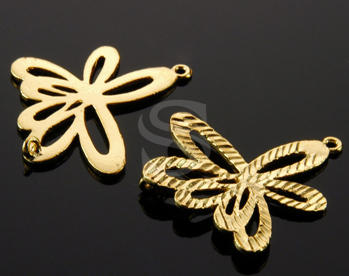 [B0622-C-G] 4 Pcs / Sharp Line Textured Unique Flower Connector / Brass / 23mm x 26mm