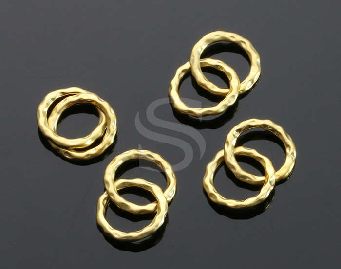 [B0625-C2-MG] 4 Pcs / Bumpy Textured Connected Two Hoops Connector / Brass / 12 mm