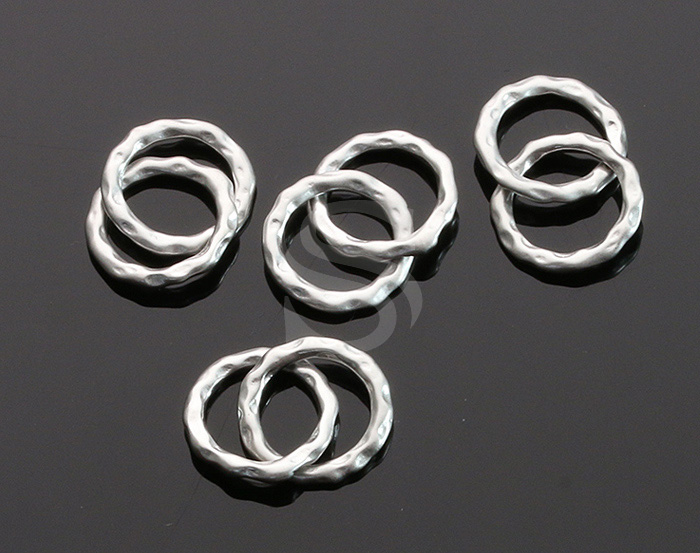 [B0625-C2-MS] 4 Pcs / Bumpy Textured Connected Two Hoops Connector / Brass / 12 mm