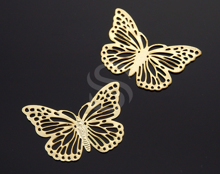 [B0697-C-G] 4 Pcs / Dainty Flat Butterfly Connector / Steel / 38mmx27mm