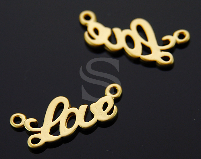 [B0735-C-MG] 4 Pcs / Adorable 'Love' Connector / Brass / 23mmx9mm