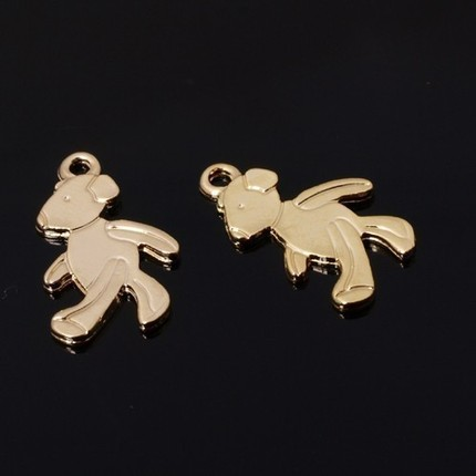 [B0074-P-G] 6 Pcs / Highly Polished Teddy Bear Charm