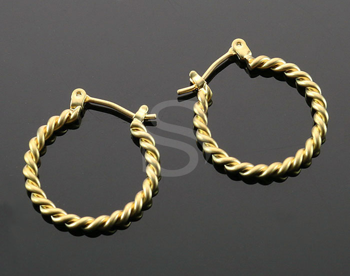[B0952-E-MG] 4 Pcs / Elegant Rope Hoop Earring / Brass / 20mm x 21.5mm
