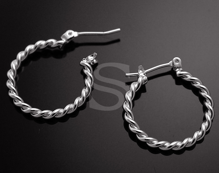 [B0952-E-RF] 4 Pcs / Elegant Rope Hoop Earring / Brass / 20mm x 21.5mm