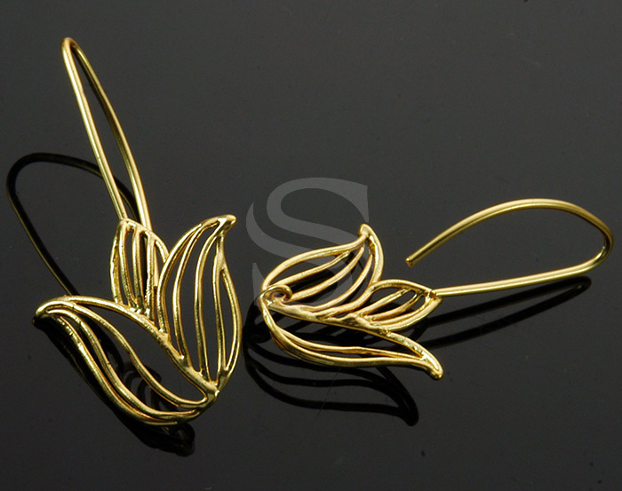 [B0992-H-MG] 2 Pcs / Line Art Beautiful Tulip Hook Earring / Brass / 20.8mm x 42mm