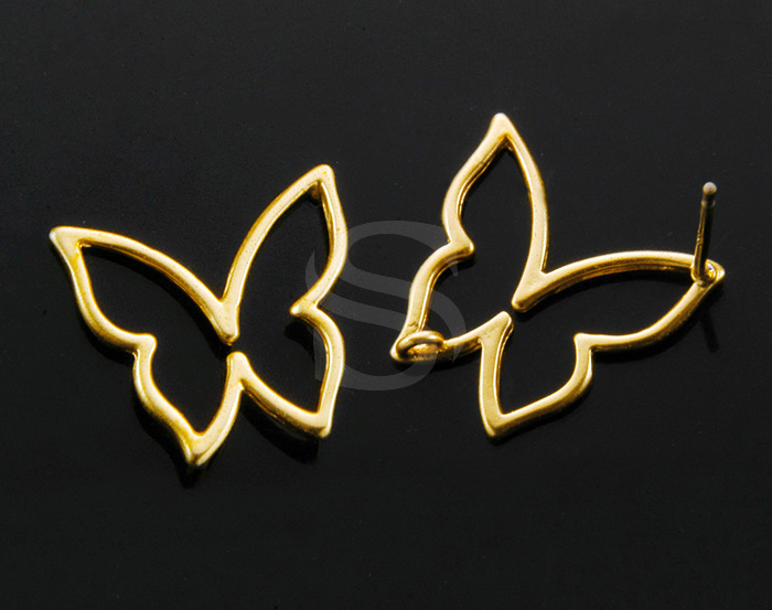 [B1002-E-MG] 4 Pcs / Hollow Center Simplicity Butterfly Earring / Brass / 15.5mm x 15mm