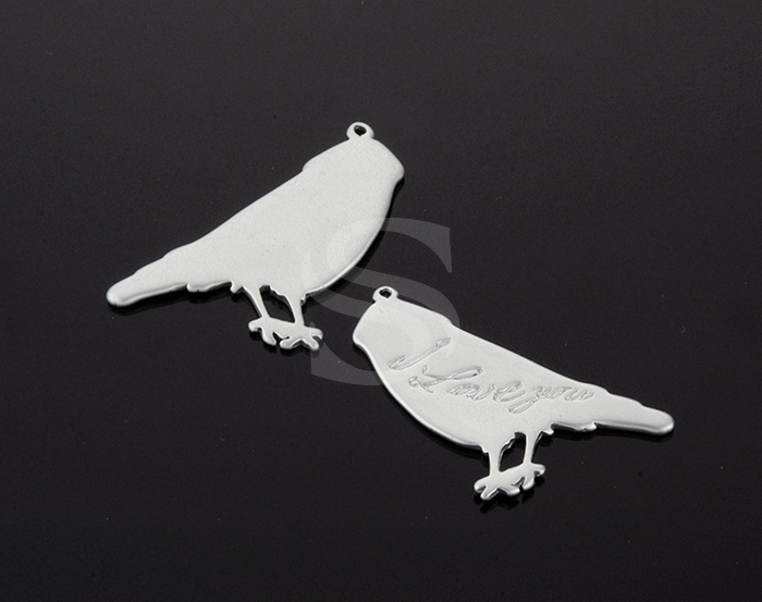 [B1016-P2-MS] 2 Pcs / \'I LOVE YOU\' Bird Pendant / Brass / 27.3mm x 22.1mm