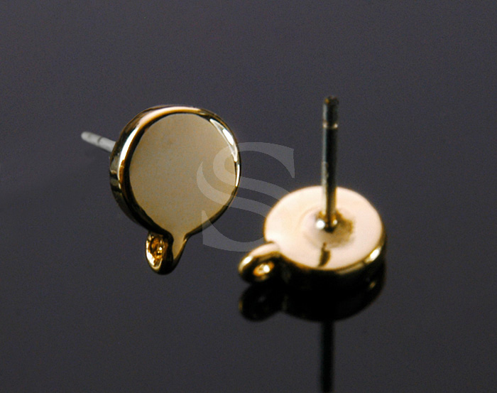 [B1027-E-G] 4 Pcs / Little Flat Circle Earring Fidings / Brass / 5.5mm x 7.5mm