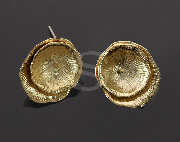 [B0145-E2-G] 4 Pcs / Delicate Brush Textured Two Lotus Leaves Earring / Brass / 11mm x 17.5mm