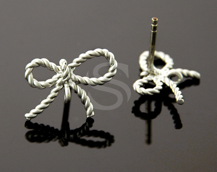 [B0105-E-MS] 4 Pcs / Braided Cord Ribbon Stud Earring Findings / Brass / 16mm x 10mm