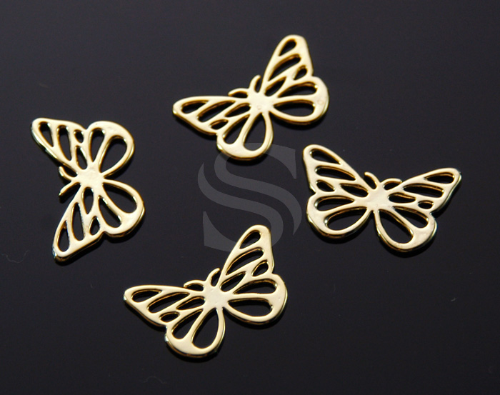 [B1065-C-G] 4 Pcs / Butterfly Outline Connector / Brass / 19.5mm x 12.5mm