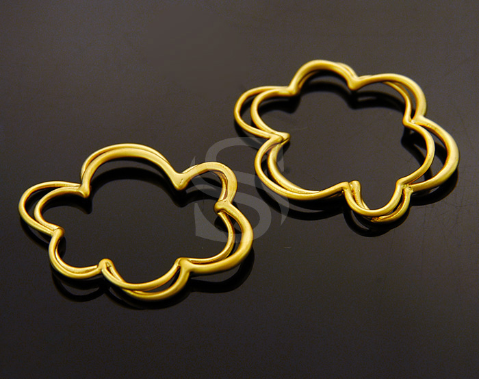 [B1069-C-MG] 4 Pcs / Cloud Line Art Connector / Brass / 21.5mm x 18.5mm