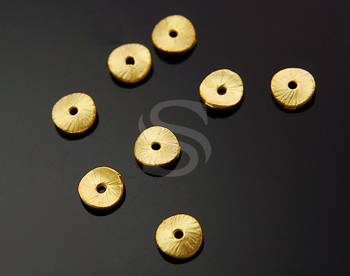 [B1080-C-MG] 8 Pcs / Unique Brush Textured Coin Spacer / Brass / 5mm
