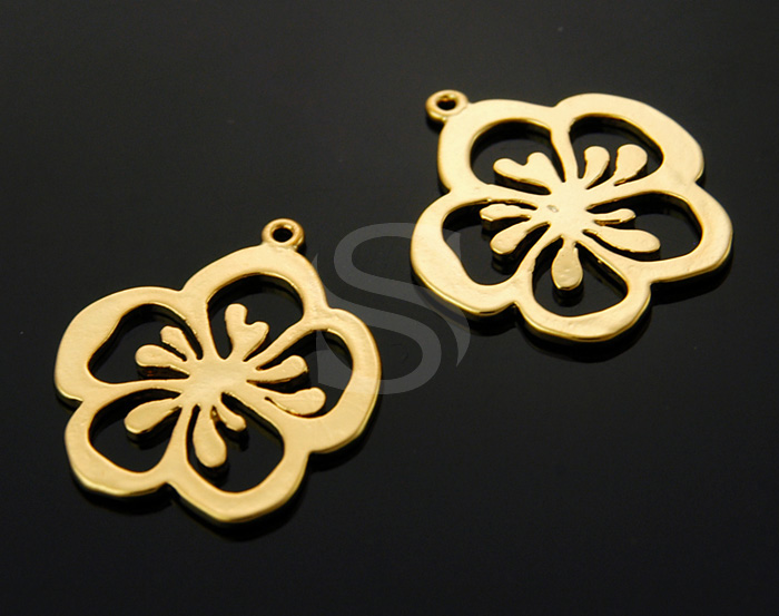 [B0407-P-G] 4 Pcs / Line Cut Out Flower Pendant / Brass / 19mm x 22mm