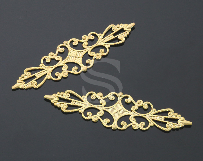 [B1097-C-MG] 4 Pcs / Oriental Pattern Connector / Brass / 56.7mm x 16mm