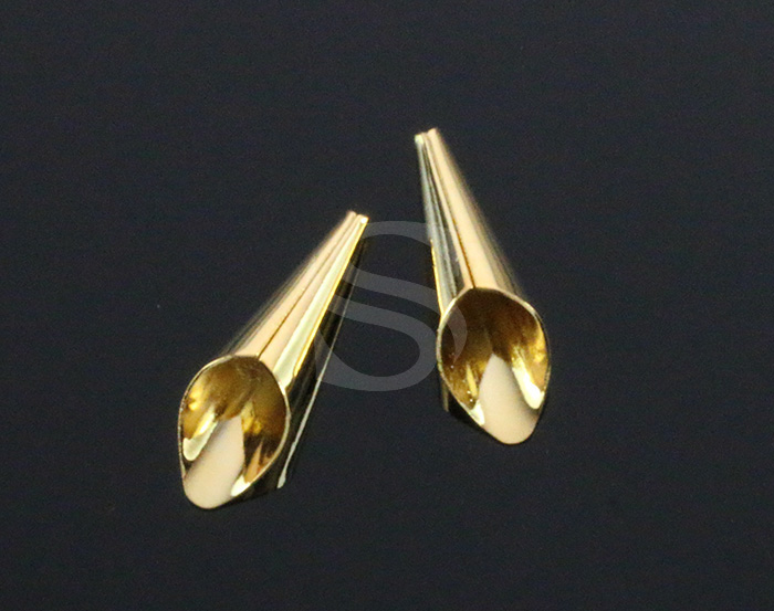 [B1099-C-G] 4 Pcs / Delicate Lily Flower Cone / Brass / 5.7mm x 21mm