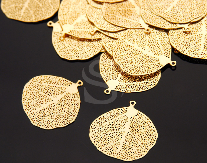 [B0121-P1-G] 6 Pcs / Highly Detailed Filigree Leaf Pendant / Brass / 20mm x 19mm