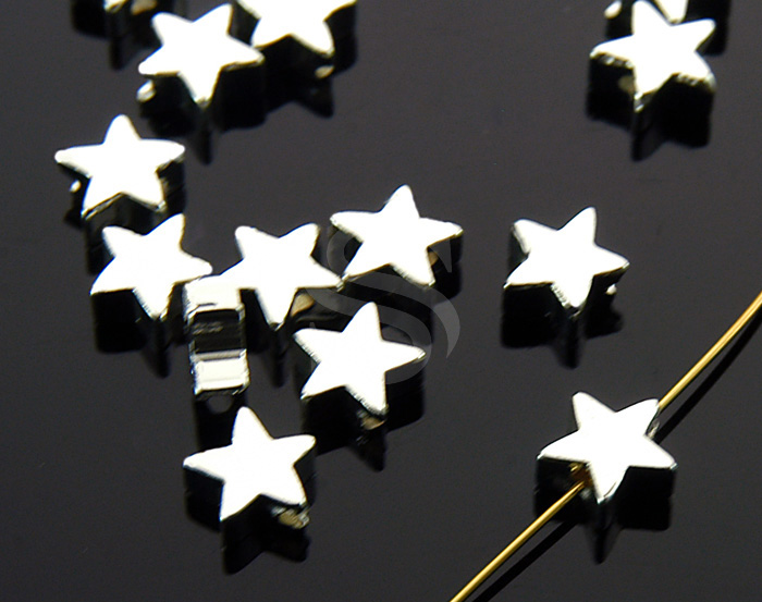 [B1104-C-ATSS] 8 Pcs / Simple Flat Star Beads / Brass / 6mm x 6mm