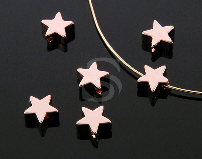 [B1104-C-RG] 8 Pcs / Simple Flat Star Beads / Brass / 6mm x 6mm