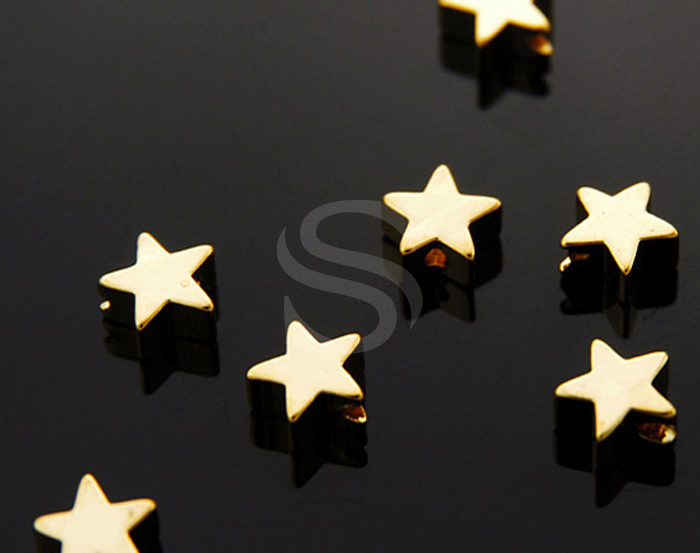 [B1104-C-G] 8 Pcs / Simple Flat Star Beads / Brass / 6mm x 6mm