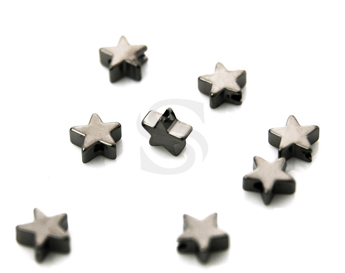 [B1104-C-MOGL] 8 Pcs / Simple Flat Star Beads / Brass / 6mm x 6mm